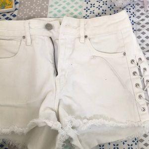 high rise pacsun white shorts